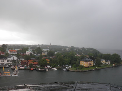 A view fro the top of the tower towards mainland during rain.