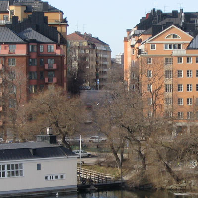 View of our house from Liljeholmen bridge